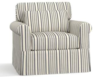 Pottery Barn York Roll Arm Deep Seat Slipcovered Armchair - Print and Pattern