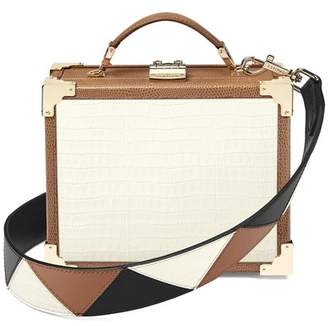 Aspinal of London Mini Trunk Clutch In Deep Shine Ivory Small Croc Camel Lizard With Zig Zag Strap