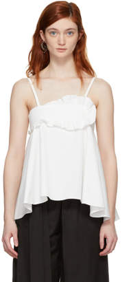 Carven White Cotton Ruffled Tank Top