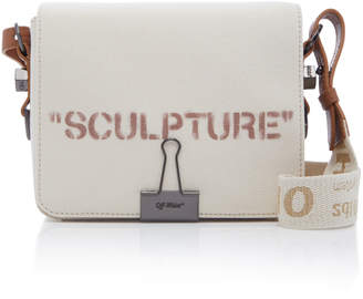 Off-White Sculpture Leather-Trimmed Printed Canvas Shoulder Bag