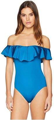 Trina Turk Getaway Solids Off the Shoulder Bandeau One-Piece Swimsuit