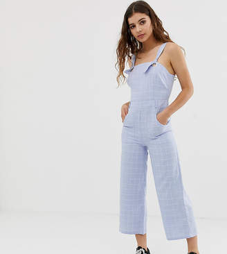 Glamorous tie shoulder jumpsuit in grid check chambray