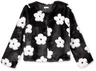 Monteau Girls' Floral Faux-Fur Jacket $48 thestylecure.com