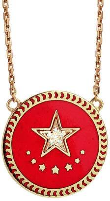 Foundrae Petite Red Champlevé Strength Medallion Stationary Necklace