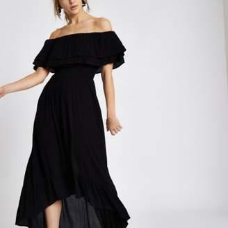River Island Womens Black frill bardot high low maxi dress