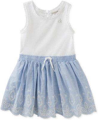 Calvin Klein Embroidered Denim Cotton Tank Dress, Baby Girls (0-24 Months) $50 thestylecure.com