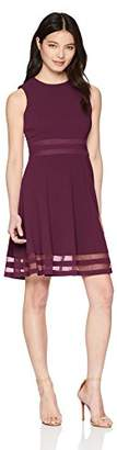 Calvin Klein Women's Petite Sleeveless Round Neck Fit and Flare Dress with Sheer Inserts at Hem