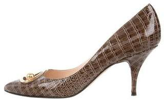 Casadei Pointed-Toe Embossed Pumps