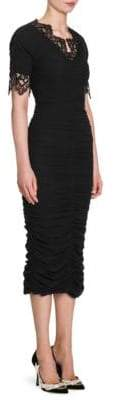 Dolce & Gabbana Lace Trim Ruched Bodycon Dress