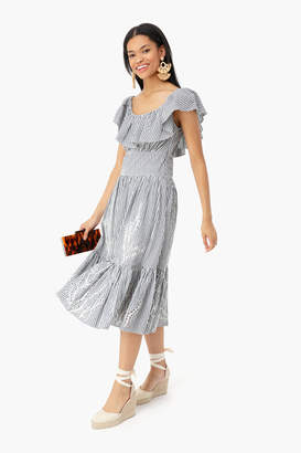 Tory Burch Cotton Stripe Eyelet Embroidered Dress