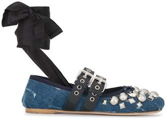 Miu Miu embellished denim double buckle ballerina flats