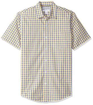 Amazon Essentials Men's Slim-Fit Short-Sleeve Check Casual Poplin Shirt