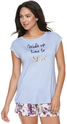 Apt. 9 Women's Satin Trim Tee & Shorts Pajama Set