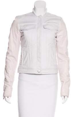 Alexander Wang Leather-Trimmed Denim Jacket