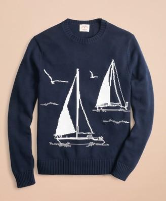 Brooks Brothers Cotton Sailboat Crewneck Sweater