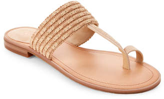 Tahari Natural Gabby Studded Toe-Ring Flat Sandals