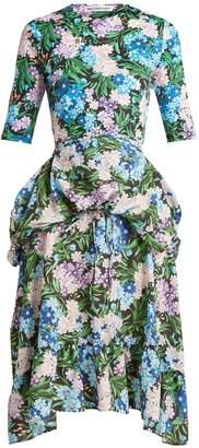 Balenciaga Floral-print wrap-around jersey dress