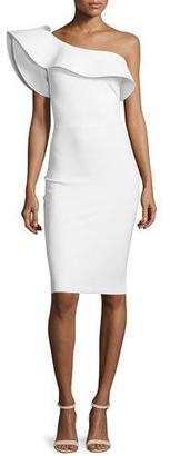 La Petite Robe di Chiara Boni Elisse One-Shoulder Ruffle Sheath Cocktail Dress $795 thestylecure.com