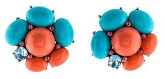Oscar de la Renta Resin & Crystal Clip-On Earrings
