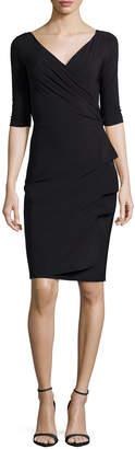 Chiara Boni Florien 3/4-Sleeve Jersey Faux-Wrap Dress