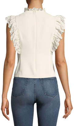 Rebecca Taylor Sleeveless High-Neck Crepe Top w/ Lace Trim