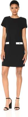 Tommy Hilfiger Women's Scuba Crepe Pocket Dress, Black/Ivory