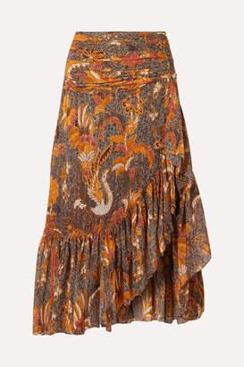 Ulla Johnson Ailie Ruffled Printed Cotton-blend Midi Skirt - Bronze