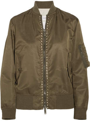 Valentino The Rockstud Satin Bomber Jacket - Army green