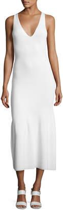 Calvin Klein Collection Sleeveless Cashmere Flounce Midi Dress, White