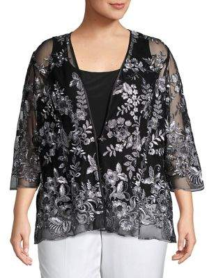 Alex Evenings Plus Two-Piece Embroidered Illusion Top & Jacket Set