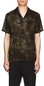 Officine Generale Men's Dario Palm-Tree-Print Cotton Camp Shirt - Olive