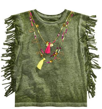 GUESS Big Girls Fringe-Trim Necklace T-Shirt