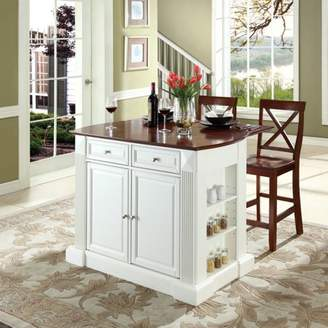 "Crosley Furniture Drop Leaf Breakfast Bar Top Kitchen Island with 24"" X-Back Stools"