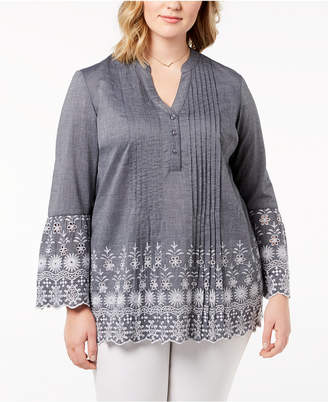 Style&Co. Style & Co Plus Size Cotton Chambray Pintuck Eyelet-Trim Top, Created for Macy's