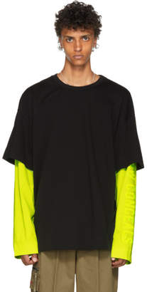 Juun.J Black and Yellow Long Sleeve T-Shirt