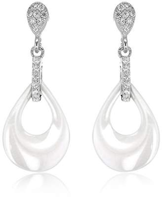 Tuscany Silver Sterling Rhodium Plated White Ceramic Tear Shaped Cubic Zirconia Teardrop Earrings