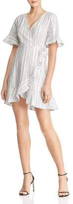 En Creme Ruffled Striped Wrap Dress