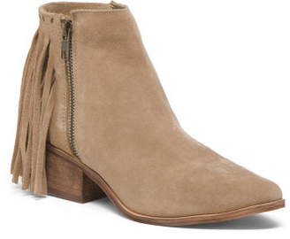 Pointy Toe Studded Fringe Ankle Booties