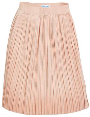 Mayoral Metallic Plisse Skirt, Silver, Size 8-14