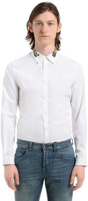 Gucci Tiger Collar Cotton Poplin Shirt