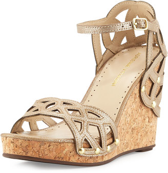 Adrienne Vittadini Chavi Cork Wrapped Wedge Sandal, Taupe $89 thestylecure.com