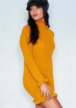 1d9af8816a39b1 Missy Empire Missyempire Chyna Mustard Knitted Frill Jumper Dress