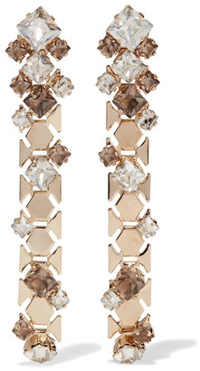 Lanvin - Gold-tone Swarovski Crystal Earrings - one size $645 thestylecure.com
