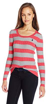 U.S. Polo Assn. Juniors' Striped Cable-Knit Scoop-Neck Pullover