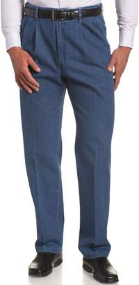 Haggar Men's Big,Tall Hidden Expandable Waistband Denim Pleat Front Pant