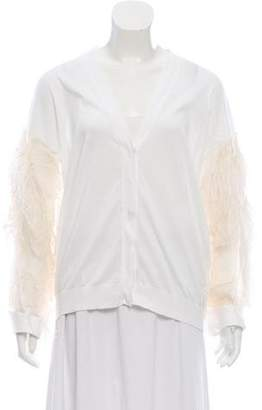 Brunello Cucinelli Feather-Accented V-Neck Cardigan w/ Tags