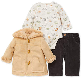 Little Me Baby Boys Three-Piece Trail Jacket, Printed Bodysuit & Pants Set