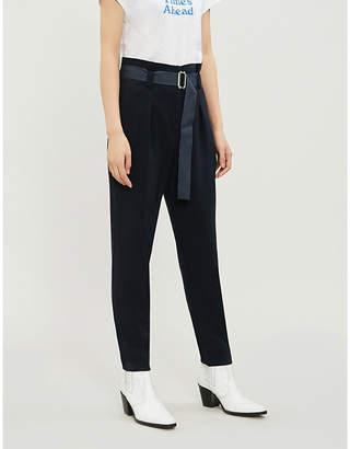 Claudie Pierlot Pablota waist-belt cropped crepe trousers