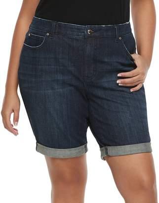 JLO by Jennifer Lopez Plus Size Cuffed Denim Bermunda Shorts