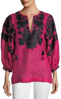 Vita Kin Puff-Sleeve Split-Neck Floral-Embroidered Linen Blouse